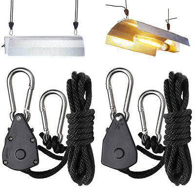 2PC GROW LIGHT ROPE HANGER RATCHET REFLECTOR HANGERS 150lb 1/8""