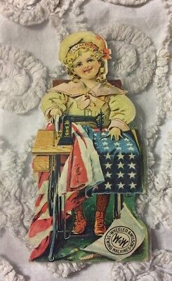 Antique Betsy Ross Figural Trade Card Wheeler & Wilson Sewing Machines