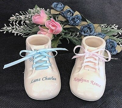Personalized Ceramic Baby Shoe Bootie Keepsake Newborn Baptism Birthday