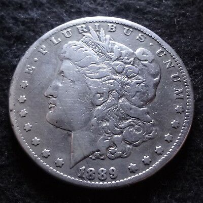 1889-CC Morgan Silver Dollar - Choice Fine F+ details from the Carson City mint