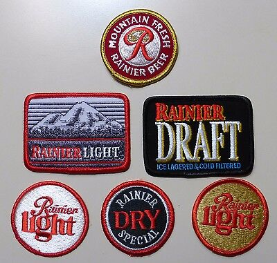 Set of 6 DIFFERENT Rainier Brewery,  Embroidered Patchs