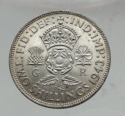 1943 United Kingdom Great Britain GEORGE VI Silver Florin 2Shillings Coin i63551