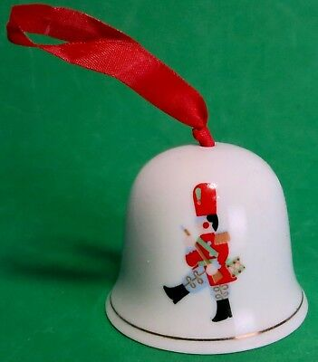 Vintage Happy Holidays Hess Department Store Advertisement Xmas Porcelain Bell