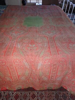 Large Antique Paisley Red Green Good Condition 5 X 10 Feet 1 Tear
