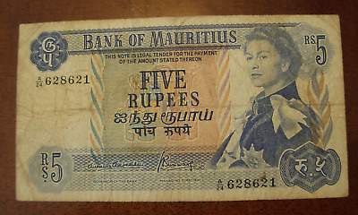 Mauritius ND 1967 5 Rupees Note P30b