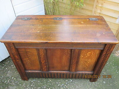 Coffer  Large Antique Early Solid Oak  Excellent Strong Condition