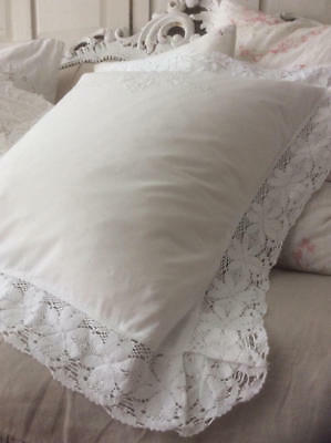 ~*Exquisite Vintage French White Embroidered/Crochet Lace Pillow/Cushion Cover*~