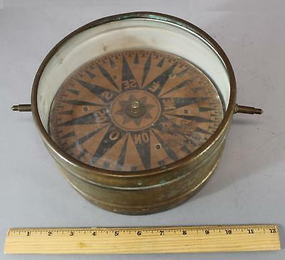 Antique Early 19thC Brass Ships Compass w/ Mica Protection, No Reserve!