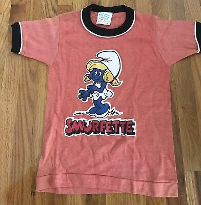 SMURFETTE Vintage Child shirt clothing 80's  Smurf size 4 unused cartoon
