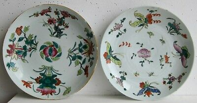 Fine Old Pair of Chinese Enamel Painted Porcelain Floral Motif Chargers SIGNED