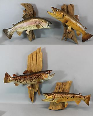 4 Vintage Life Size Hand Painted Game Fish Sculptures & Driftwood NR