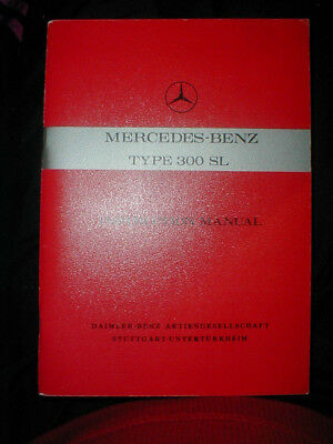 vintage MERCEDES BENZ TYPE 300 SL INSTRUCTION MANUAL EDITION B