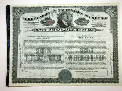 National Railways of Mexico, 1908 Issued Stock Certificate