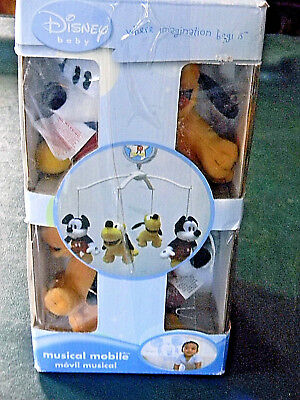 DISNEY BABY Dreams Come True CRIB Musical MOBILE MICKEY & PLUTO Brand New in BoX