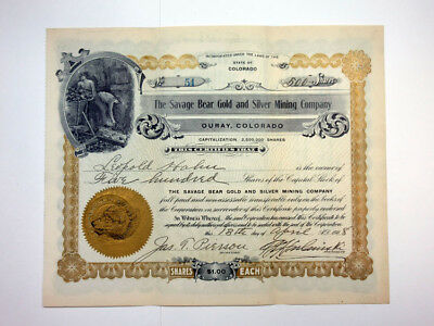 Savage Bear Gold and Silver Mining Co., 1908 Issued Stock Certificate