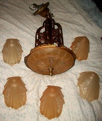 DRAMATIC ART DECO WATERFALL 5 AMBER SLIP-SHADE ART GLASS CEILING LAMP C.1920's