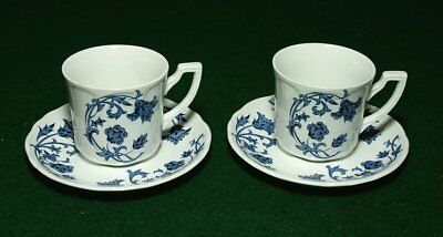 """Royal Staffordshire blue """"Windsong"""" Ironstone J & G Meakin England 2 cups/saucer"""