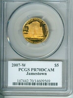 2007-W PCGS PR70DCAM (Toned) Jamestown 1/4oz Gold Commemorative (Mercanti)