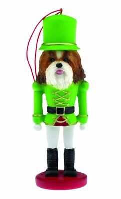 Shih Tzu Tan and White Dog Soldier Holiday NUTCRACKER ORNAMENT