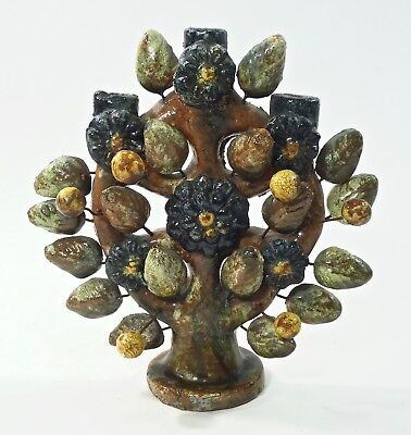 Vintage Mexican Folk Art Pottery Tree Of Life Candelabra Small Size