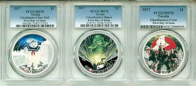 2017 $1 Tuvalu 3 Coin Set Ghostbusters Stay Puft Slimer & Crew PCGS MS70 Box&COA
