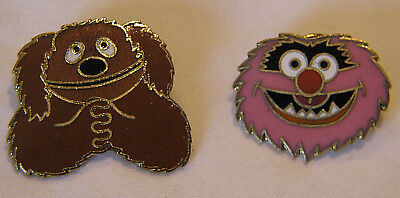 TWO VINTAGE 70's SESAME STREET ANIMAL AND ROWLF PINS