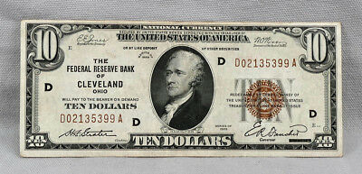 $10 1929 National Currency Federal Reserve Bank Of Cleveland Note! Nice Bill!