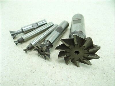 """Lot Of 5 Hss Dovetail Cutters 1/4"""" X 42° To 1-5/8"""" X 45° Fkd"""