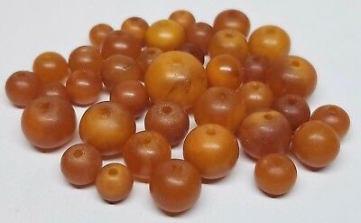Vintage Natural Butterscotch Egg Yolk Baltic Amber Necklace Beads 19g Chinese