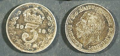 1918 UK 3 pence SILVER - Solid VF+    stk#2G57