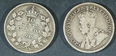 1919 Canada  10 cent SILVER -  Solid GOOD  stk#2a71