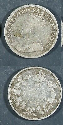 1921  Canada 10 cent SILVER -  Solid GOOD   stk#2a59