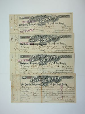 Texas. State of Texas, Fort Bend County, 1899-1900, Lot of 4 Checks Fine to VF