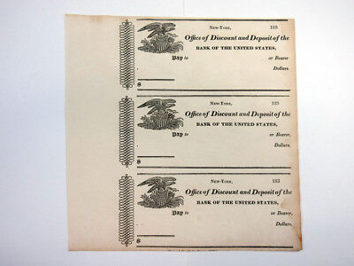 NY.183x Bank of the U.S., Office of Discount and Deposit, Uncut sheet 3 checks