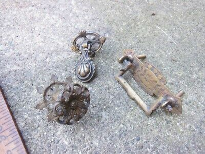 LOT 3 antique drawer pulls victorian neat brass iron 1890s See pics, nice pieces