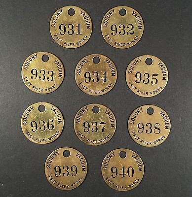 Ten 1930s-40s Brass Tags/Employee Badges Socony-Vacuum East River Refinery Works