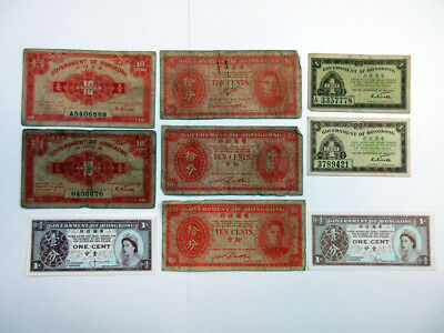 Hong Kong Small Change Issues Lot of 9. 1940's 1ct & 10cts (4); 10cts 1950's (3)