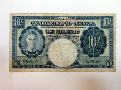 Jamaica. Governemt of Jamaica 1940, 10/-  P-38B Issued VF  TDLR