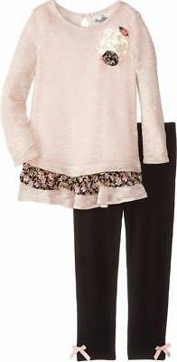 """NEW Rare Editions Girls """"BLUSH PINK & BLACK"""" Size 6 Sweater Top & Leggings NWT"""