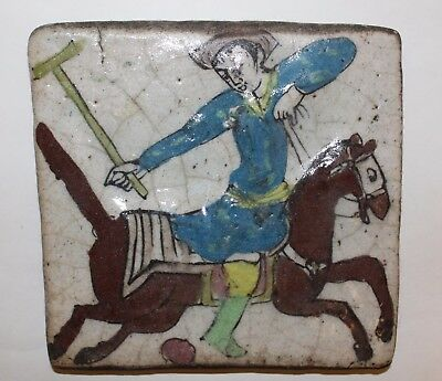 Antique Hand Painted Persian Pottery Tile With  Man Playing Polo