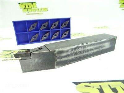 """Seco Indexable Turning Tool Holder 1"""" Shank Svvbn 16-3 + 8 New Carbide Inserts"""