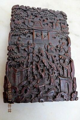 1800's Antique Chinese Finest Quality Wood Carved Card Case