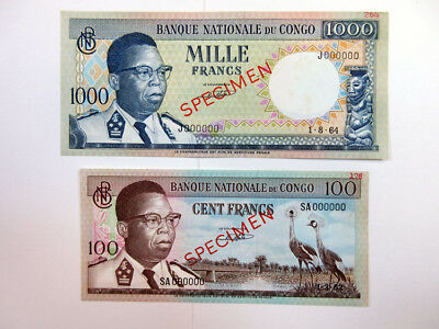 Banque Nationale Du Congo, 2 Specimens, 1962, 100 & 1964, 1000 Francs Unc./CU