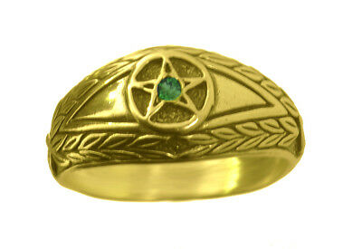 New Emerald stone Evil Eye wealth to positive ring Pentagram 24K Gold Plated