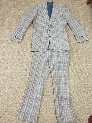 Vintage Retro Men's FULL PLAID LEISURE SUIT Jacket/Pants 70s Size 42 & 32x32