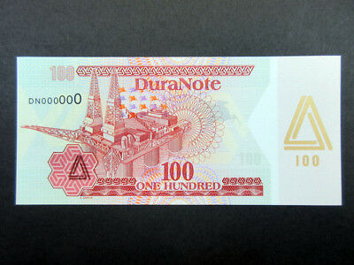 DuraNote Polymer Ad Test Note 1980-90's Oil Rig Gold Triangle Pink paper Gem UNC
