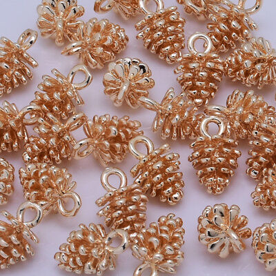 24K Gold Plated Pine Cone Pendant tree seed for bracelet 8*12mm 10pcs 10201405