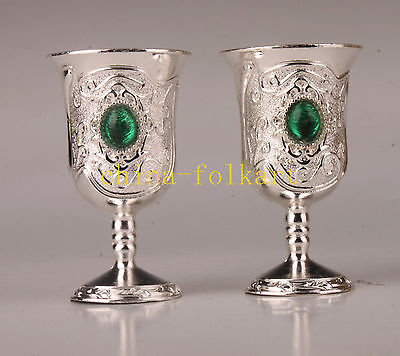 Chinese Decoration Carved Collection Wine Cup Tibet Silver Exquisite Advanced