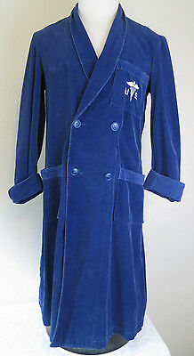 Vtg navy blue corduroy military doctor night bath robe men's Med double breasted