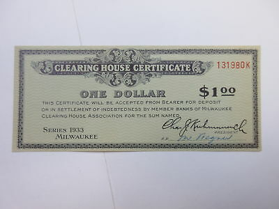 Milwaukee, Wisconsin, 1933 Clearing House Certificate $1 depression Scrip unc